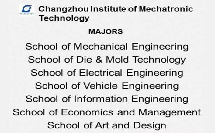 Jurusan program studi beasiswa kuliah di Changzhou Institute of Mechatronic Technology China 2018