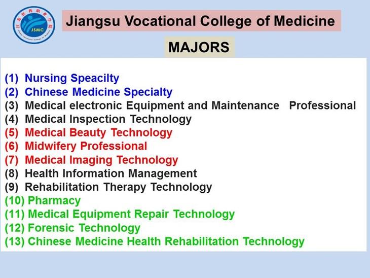 Jurusan program studi beasiswa kuliah di Jiangsu Vocational College of Medicine China 2018