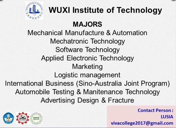 Jurusan program studi beasiswa kuliah di Wuxi Institute of Technology WXIT China 2018
