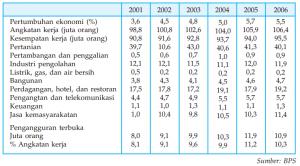 kondisi ketenagakerjaan dan pertumbuhan ekonomi di negara Indonesia