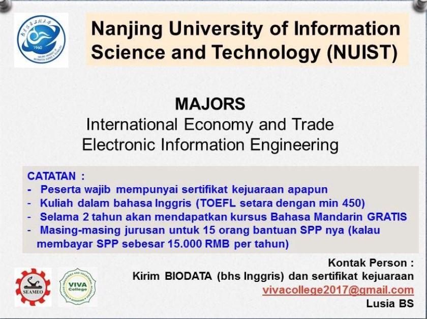 Jurusan program studi beasiswa kuliah di Nanjing University of Information Science and Technology NUIST China 2018