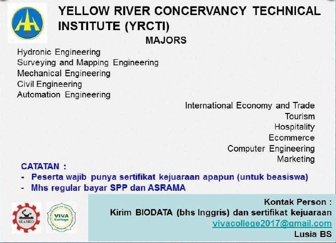 Jurusan program studi beasiswa kuliah di yellow river conservancy of technical institute China 2018