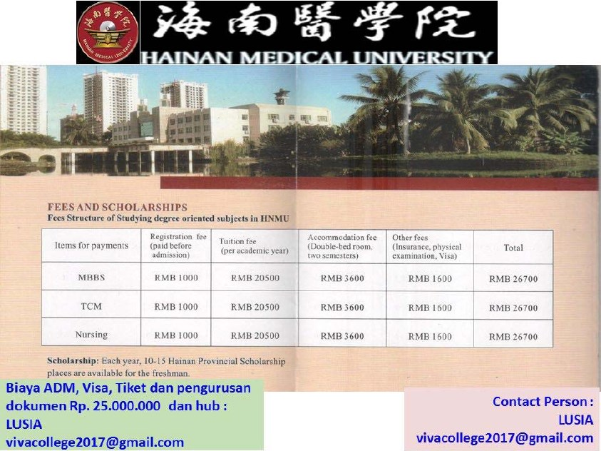 beasiswa china d3 hainan medical university spp keperawatan