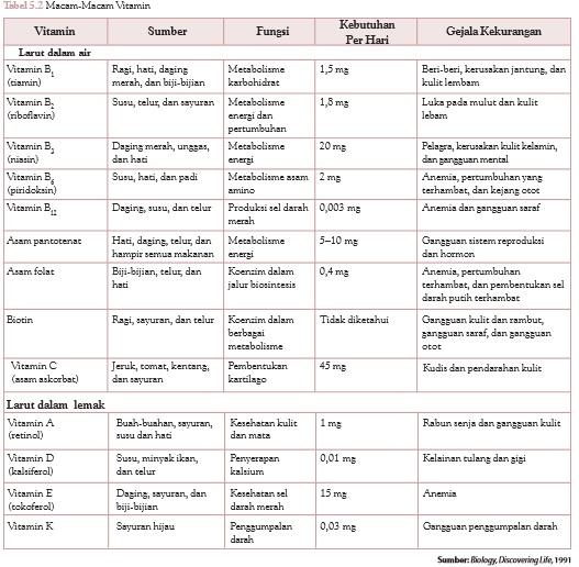 jenis-jenis vitamin dan fungsinya
