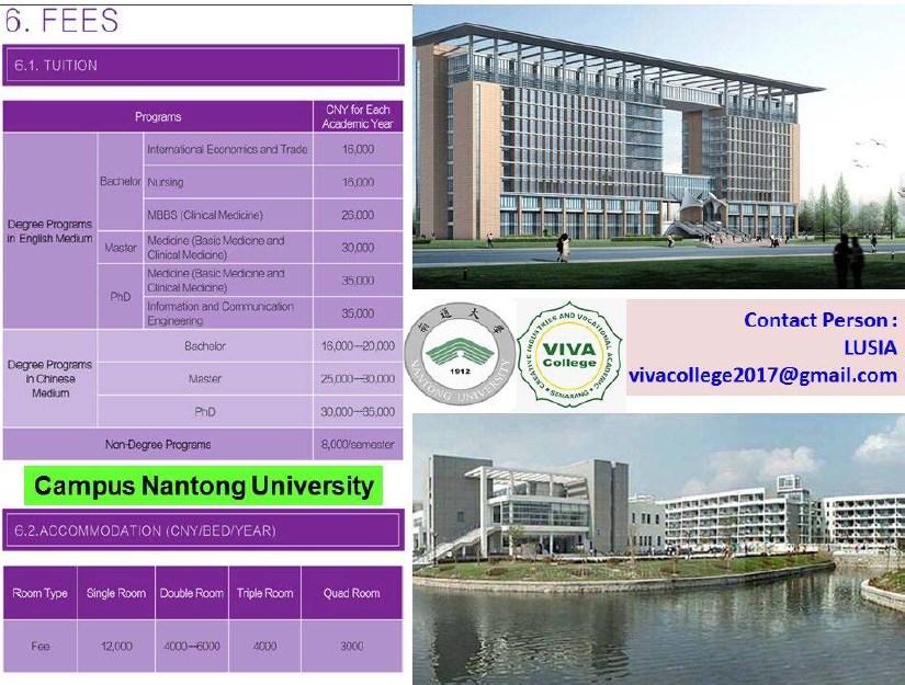 perkiraan biaya kuliah campus nantong university china