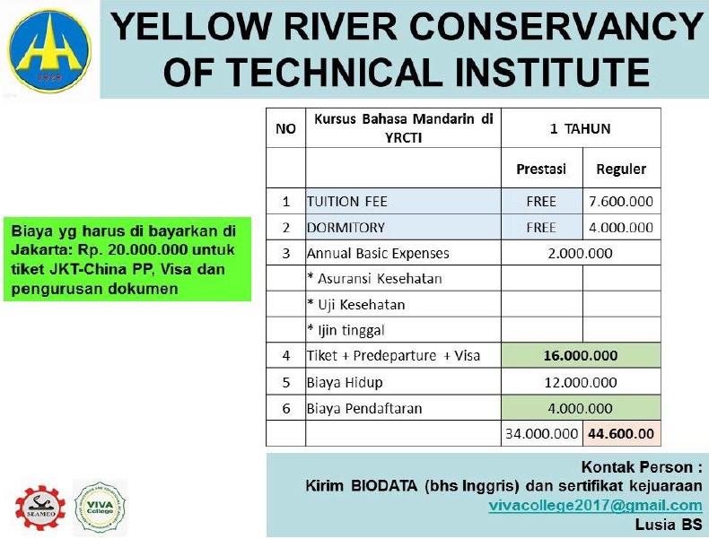 yellow river conservancy of technical institute china biaya visa tiket pesawat
