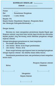 Surat Permohonan Pengakuan Koperasi Sekolah