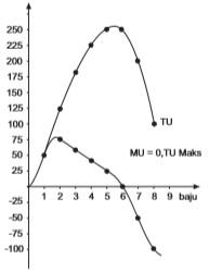 Grafik kepuasan total dan kepuasan marginal.