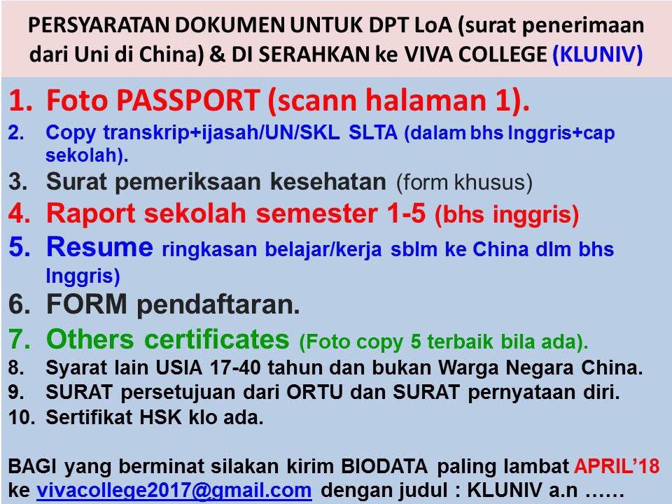 persyaratan dokumen untuk dpt loa surat penerimaan dari universitas china beasiswa yang harus diserahkan ke viva college visa beasiswa china