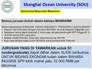 perkiraan biaya Beasiswa Kuliah S1 di Shanghai Ocean University SOU 3