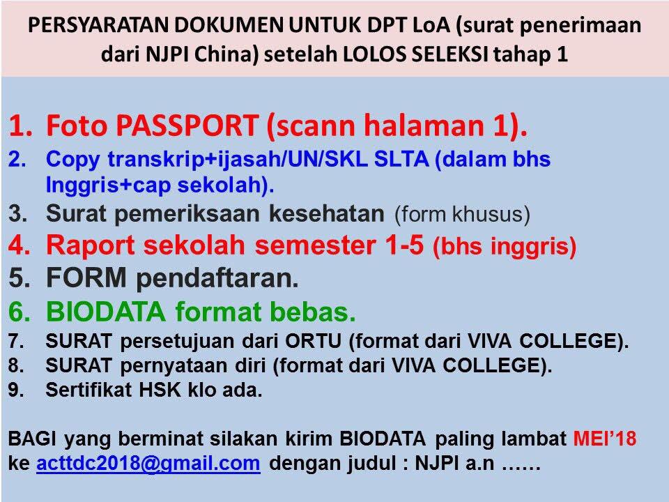 persyaratan dokumen untuk dpt loa surat penerimaan dari njpi china beasiswa yang harus diserahkan ke viva college visa beasiswa china lolos seleksi tahap 1