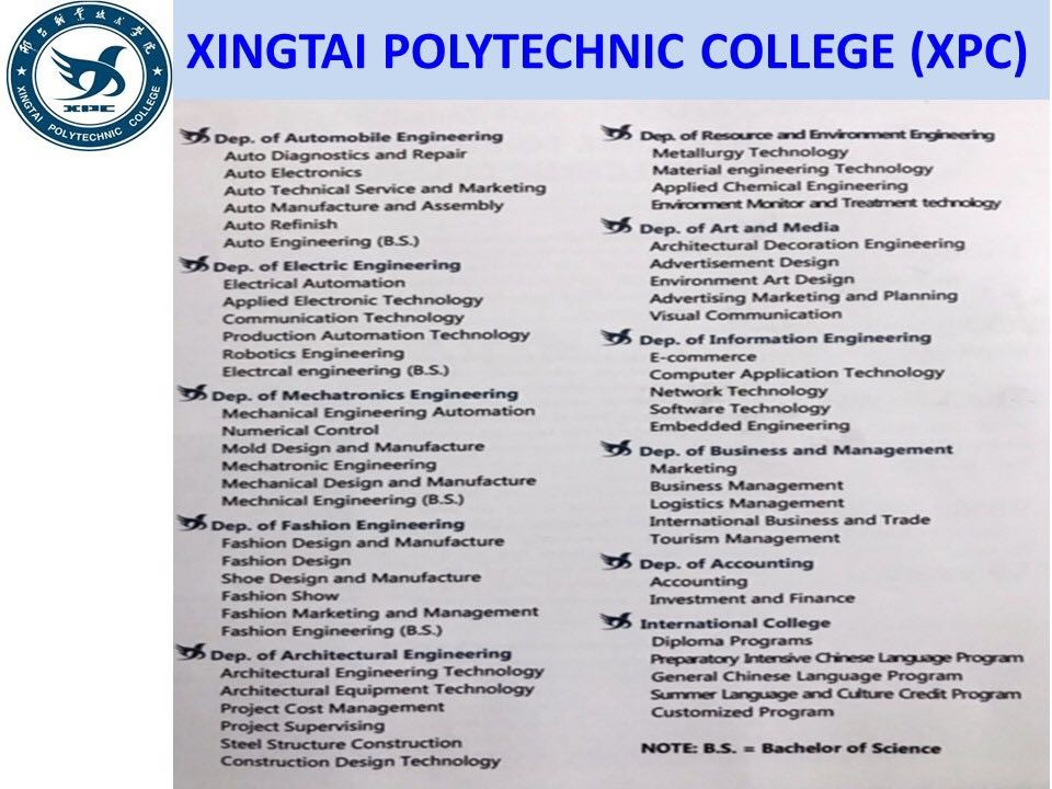 program studi Beasiswa Kuliah di Xingtai Polytechnic College xpc China Jenjang D3