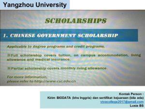 syarat Beasiswa Kuliah di Yangzhou University China Jenjang D3 2