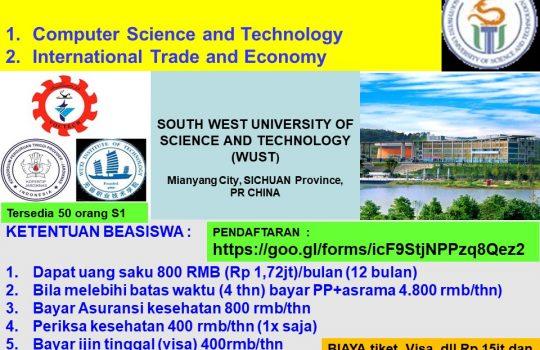 Beasiswa s1 Southwest University of Science and Technology china