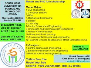 Beasiswa s2 s3 master phd Southwest University of Science and Technology china