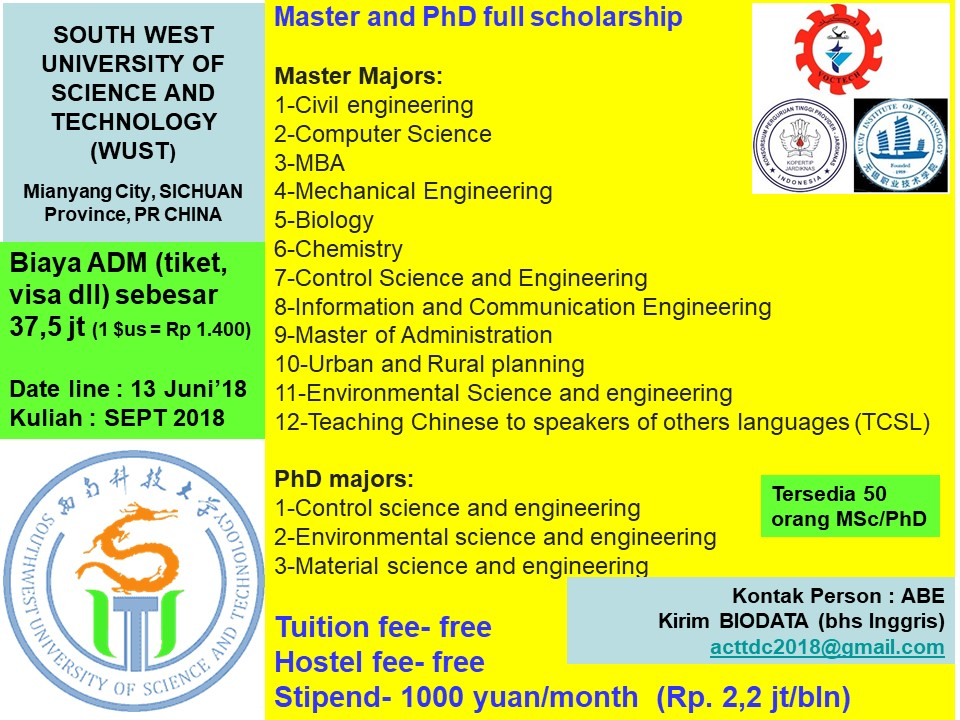 Beasiswa s2 s3 master phd Southwest University of Science and Technology china