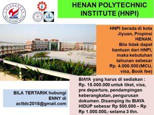 biaya hidup beasiswa d3 Henan Polytechnic University
