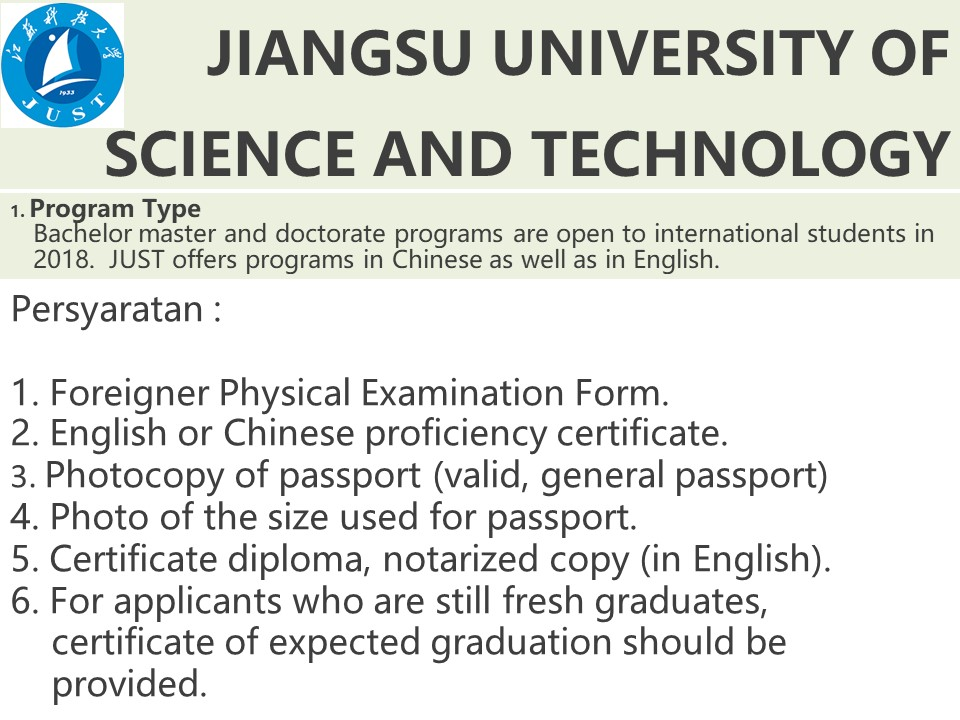 syarat pendaftaran beasiswa s1 JIANGSU UNIVERSiTY OF SCIENCE AND TECHNOLOGY JUST